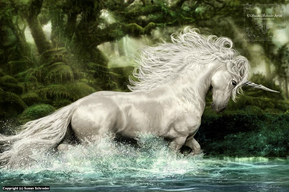 Unicorn of Wistman's Wood Artwork by Susan Schroder