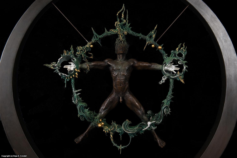 Adept Manifestation (Aer, Ignis, Aqua, Terra et Spiritus tenetur Voluntatem) Artwork by Onyx V. Crimbil