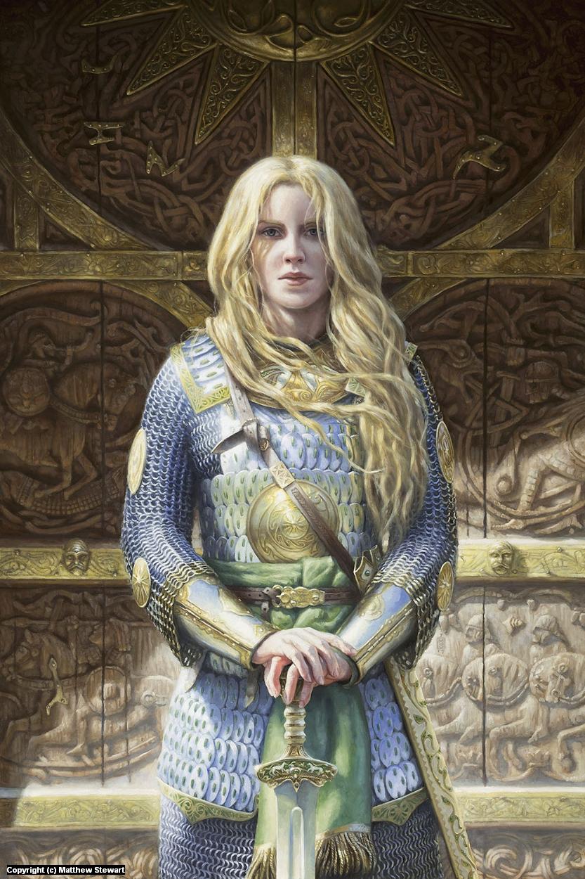 Eowyn before the doors of Meduseld Artwork by Matthew Stewart