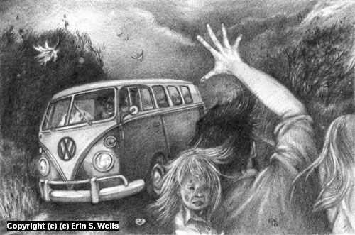 The Van Arrives Artwork by Erin Wells