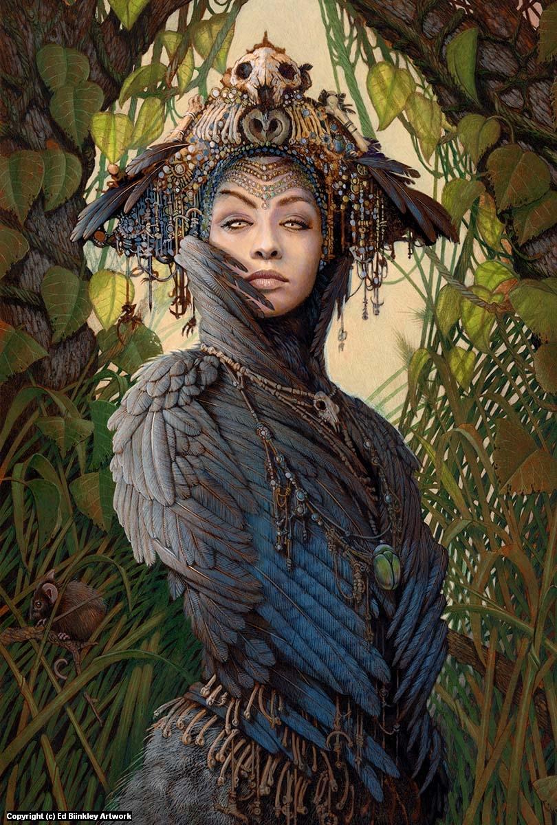Corvid Priestess Artwork by Ed Binkley