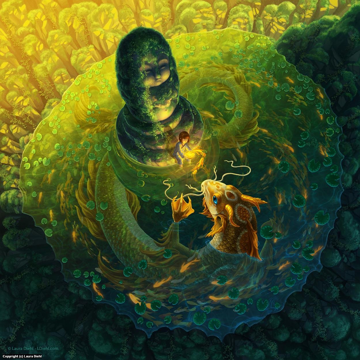 Koi Dragon Artwork by Laura Diehl