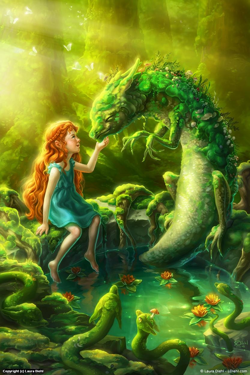 Moss Dragon Artwork by Laura Diehl