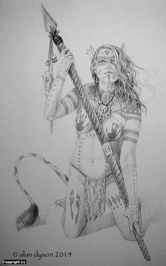 Feline Warrior Shaman Artwork by Alan Dyson