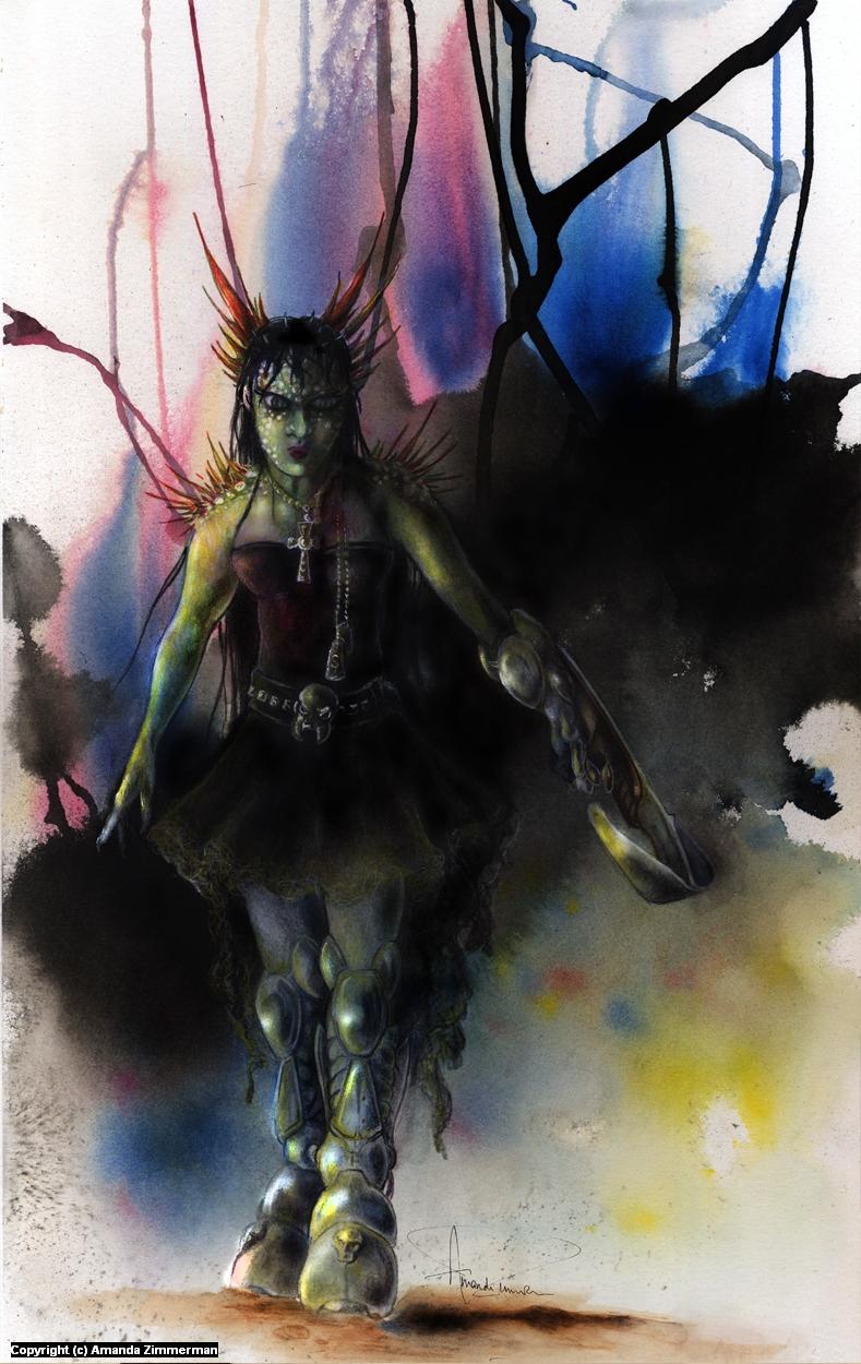 Amazon Goth Cyborg Artwork by Amanda Zimmerman