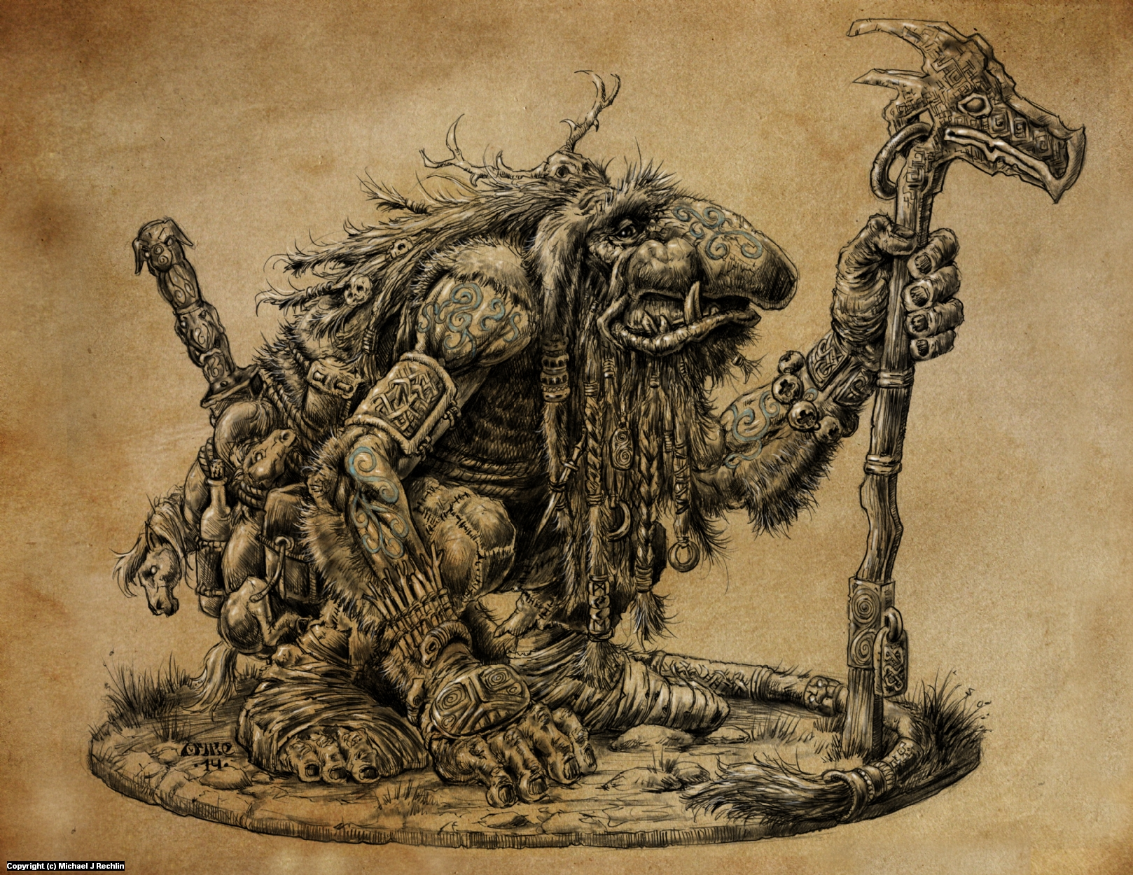 Giant Troll Mystic- Miniature Concept Artwork by Michael Rechlin