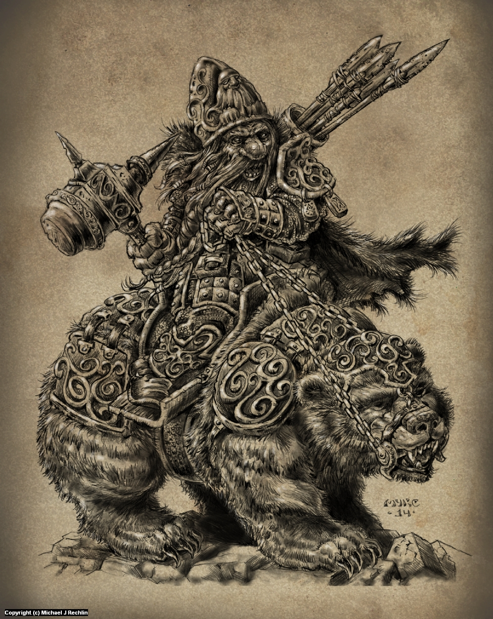Dwarf on Armored Grizzly- Krieger Cover Artwork by Michael Rechlin