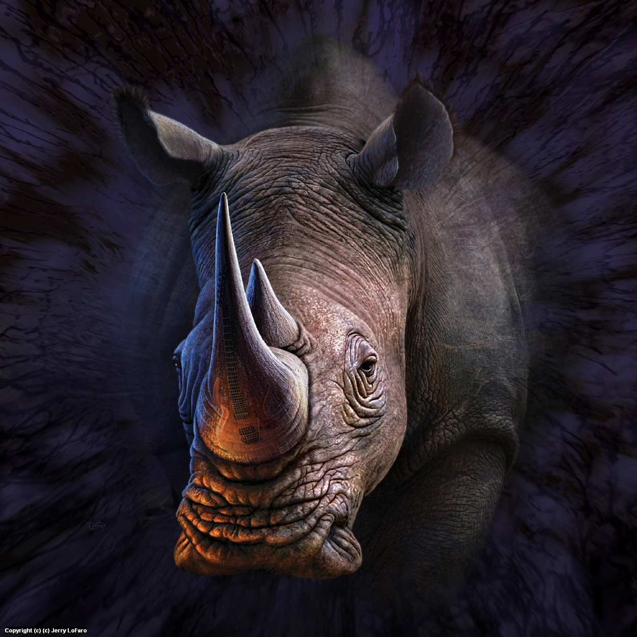 Lone Rhino 1 Artwork by jerry lofaro