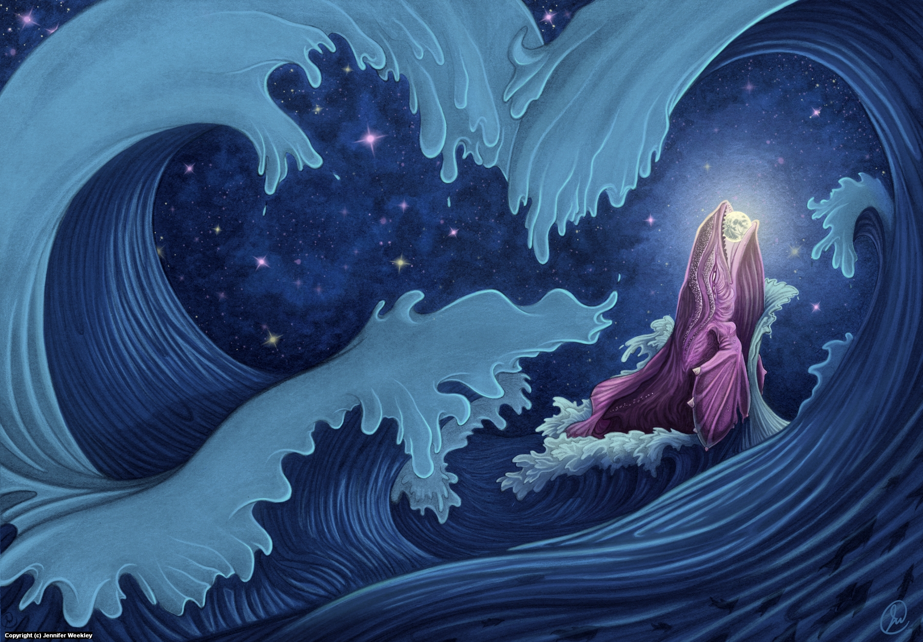 ...and so the God of the Sea ate the boastful Moon. Artwork by Jennifer Weekley