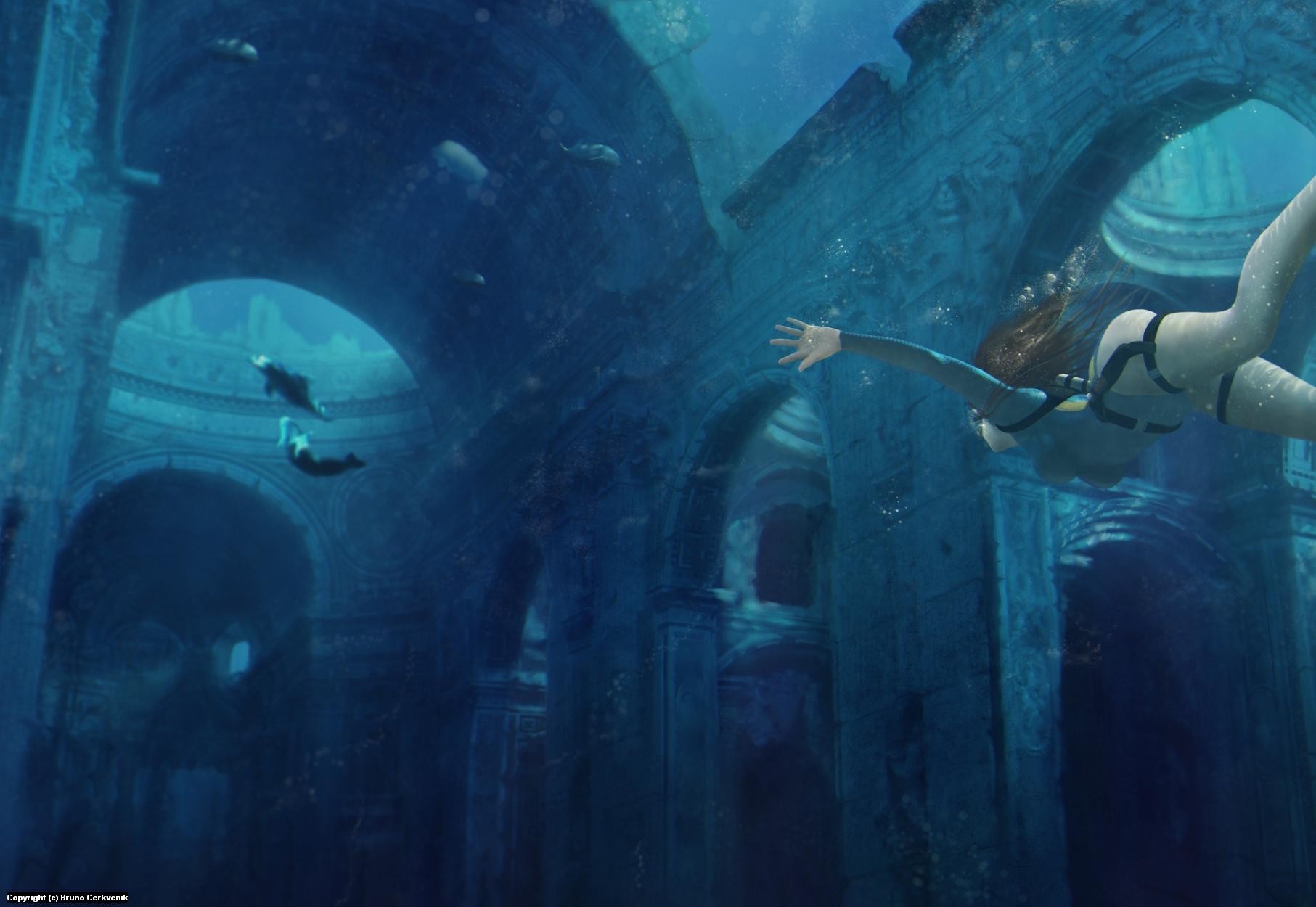 Lost City of Atlantis Artwork by Bruno Cerkvenik