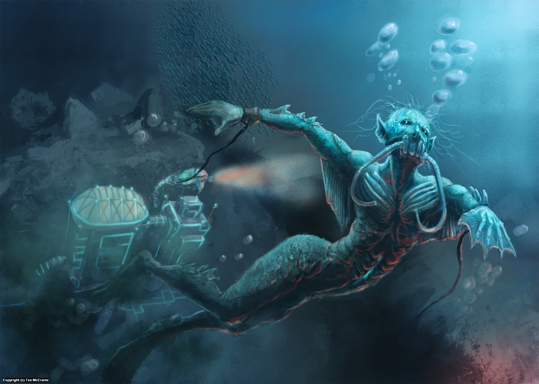 science experiment escapes from the underwater lab. Artwork by Tex McCranie
