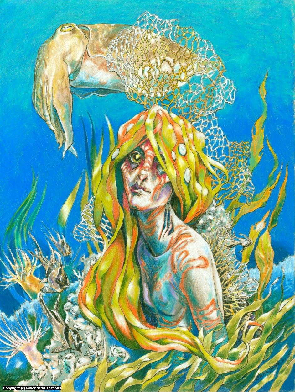 Coral Mermaid Artwork by Lara Smith