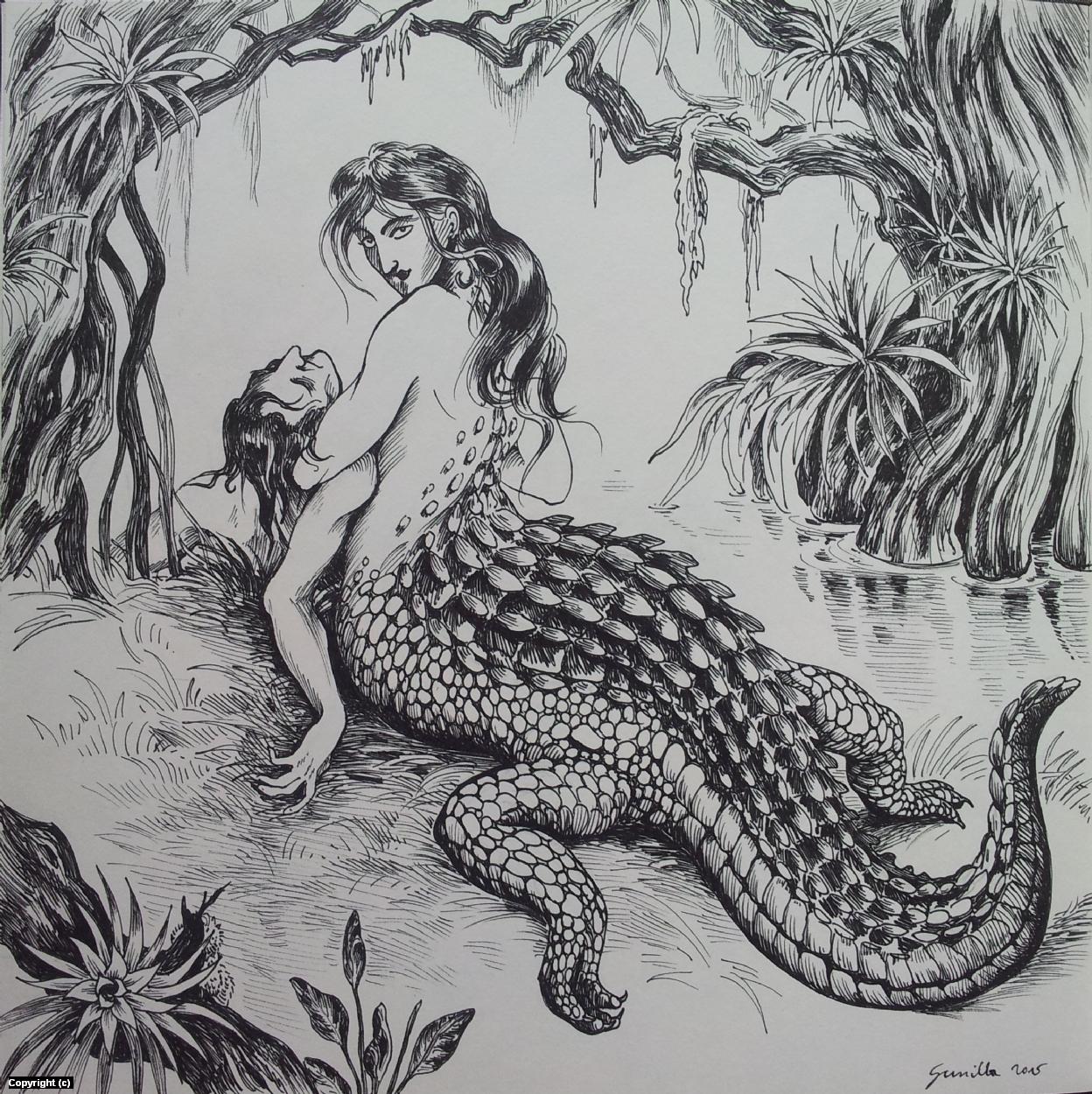 Alligator Girl Artwork by Gunilla Kral-Drofenik
