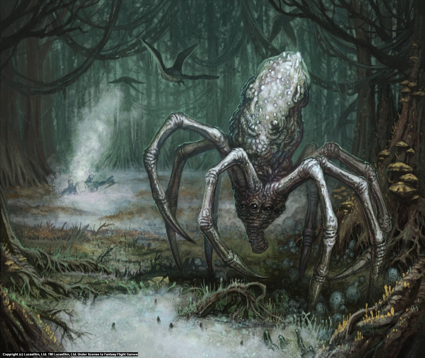 Knobby White Spider Artwork by Christopher Burdett