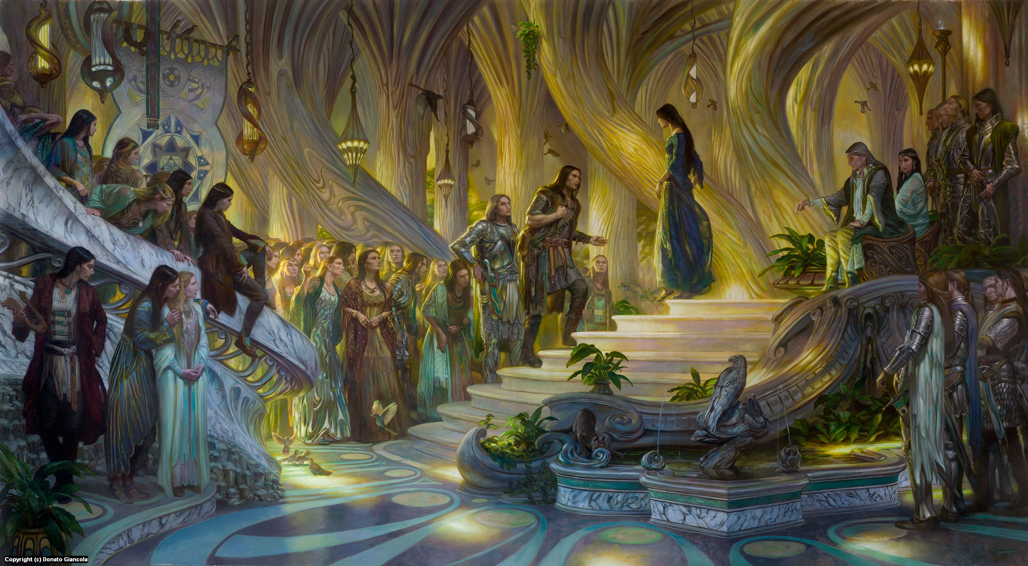 Beren and Luthien in the Court of Thingol and Melian Artwork by Donato Giancola