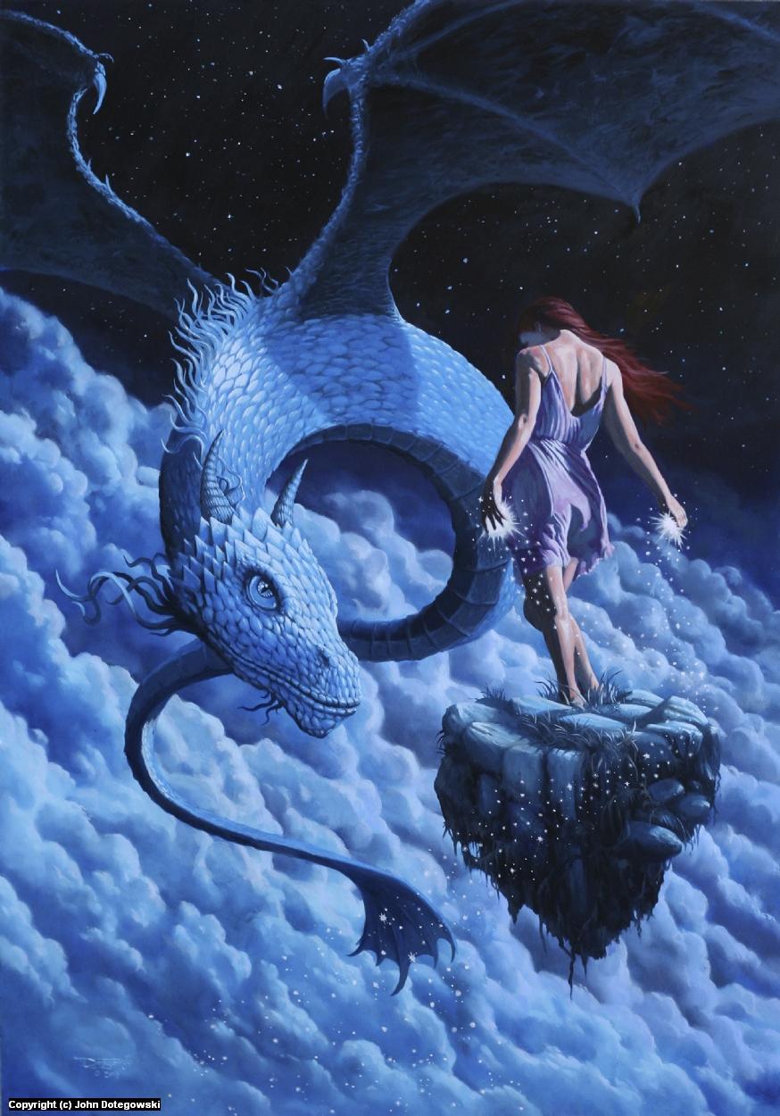 Chat with a Moon Dragon Artwork by John Dotegowski