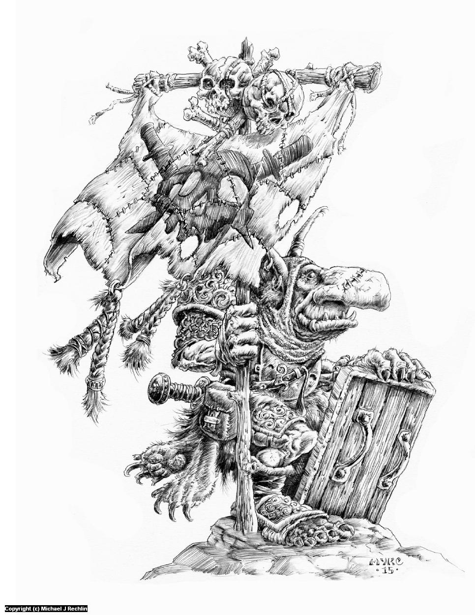 Goblin Standard Bearer Artwork by Michael Rechlin