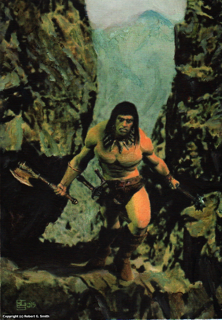 Conan with Ax and Mace Artwork by Robert Smith