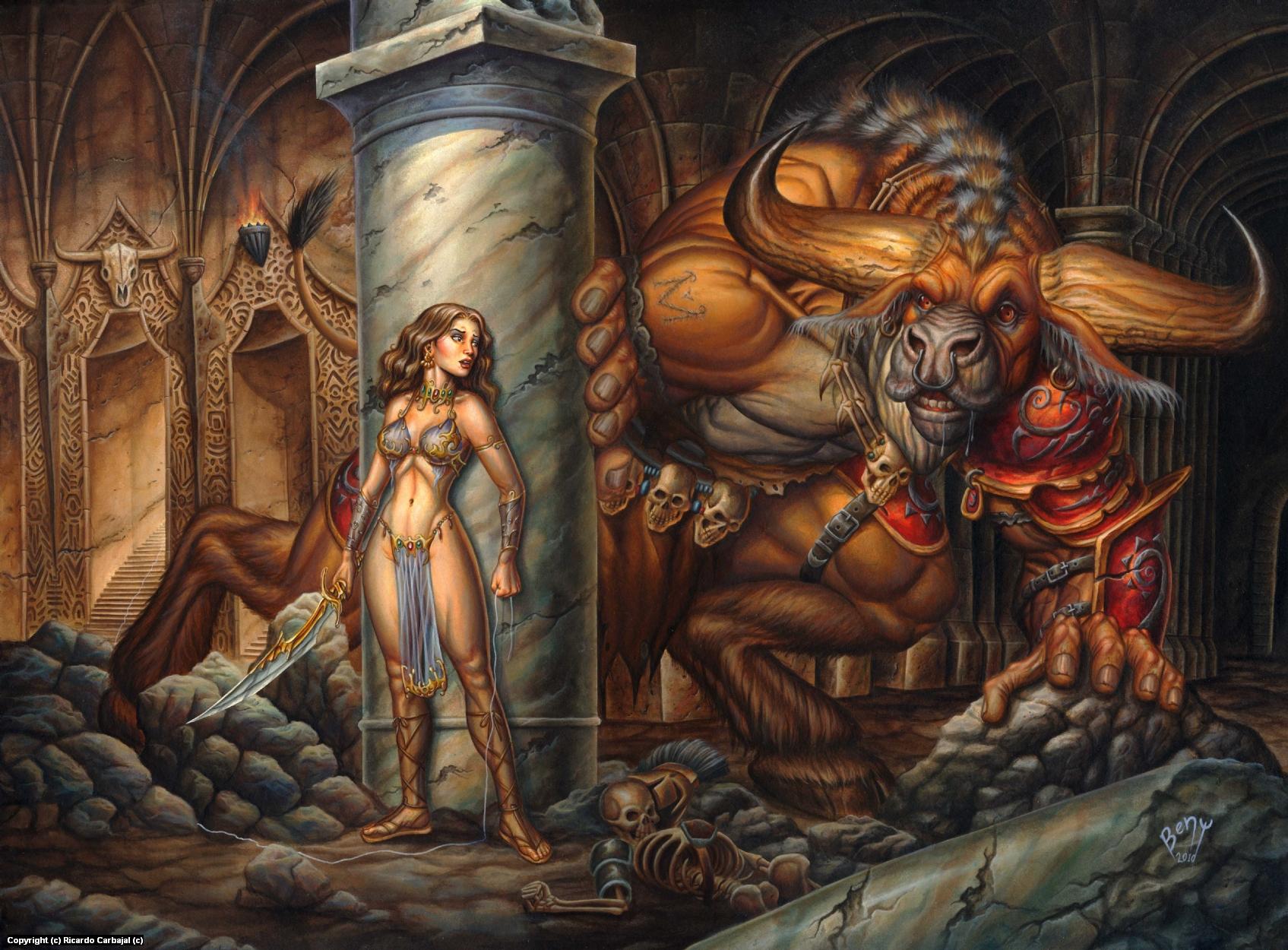 Ariadne and the Minotaur Artwork by Ricardo  Carbajal