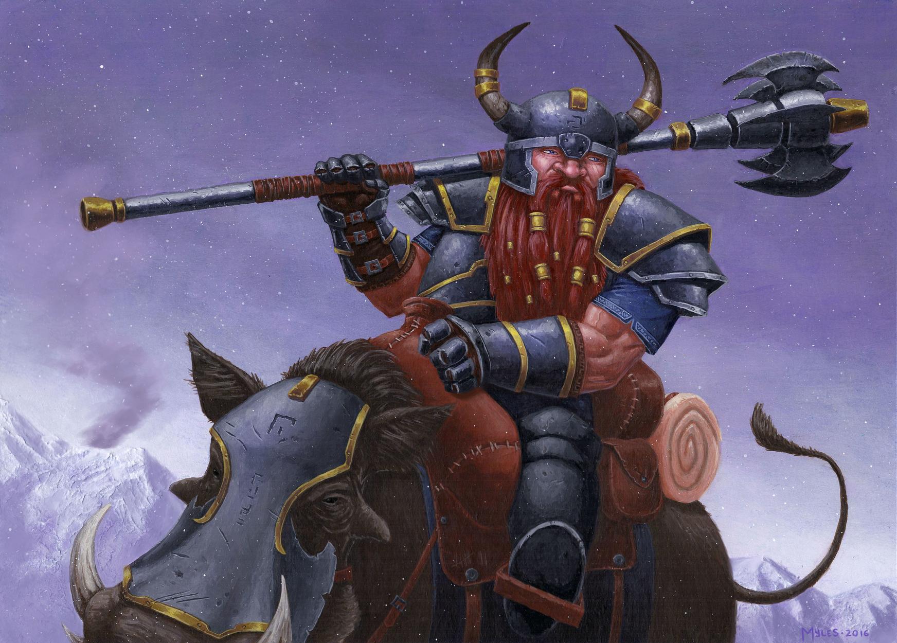 Dwarven Warthog Rider Artwork by Myles Wohl