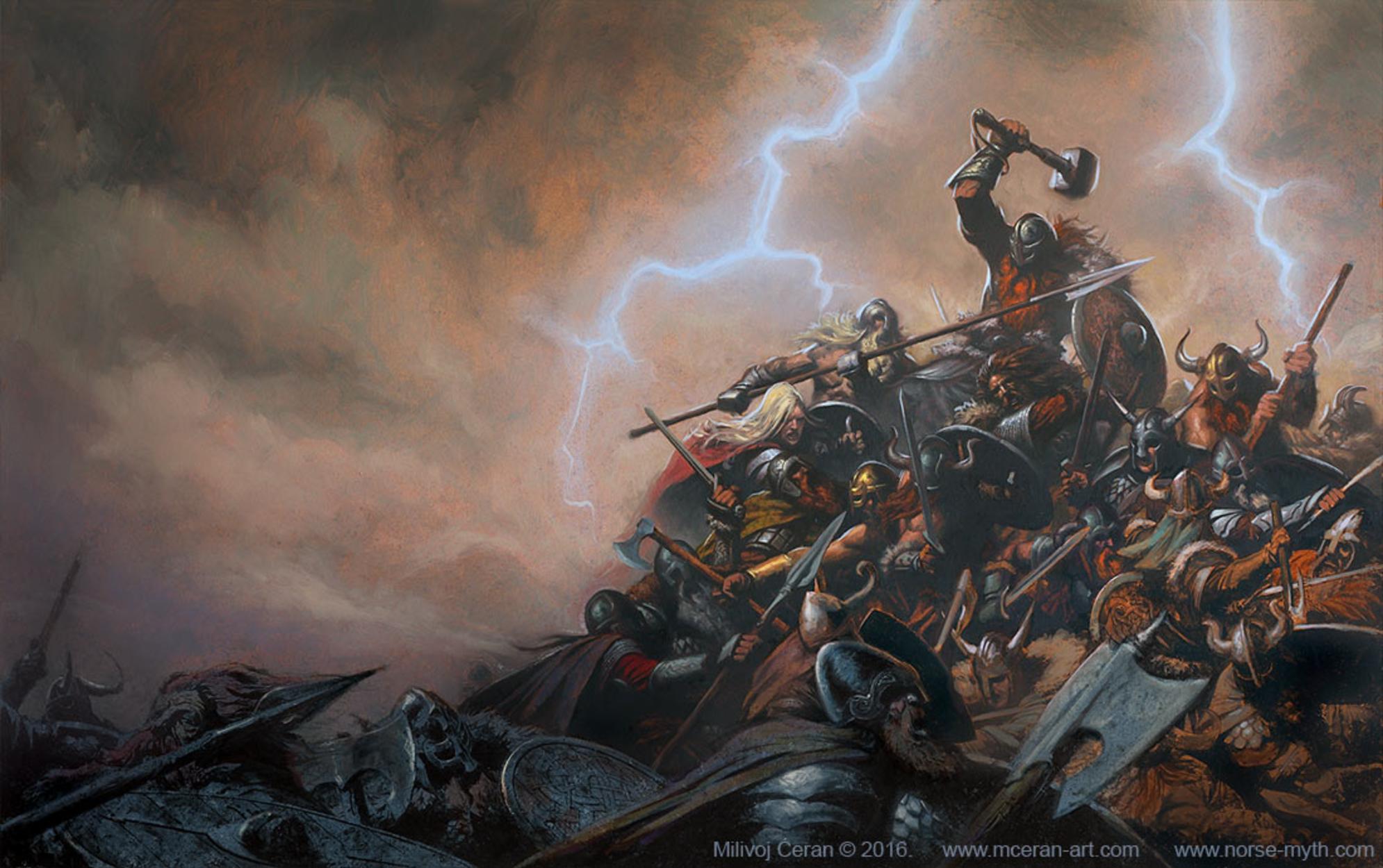 Aesir and Vanir Fight Artwork by Milivoj Ceran