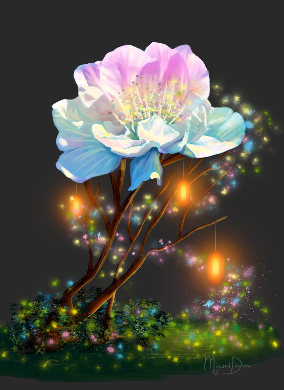 Majestic Flower Artwork by Michi Doan