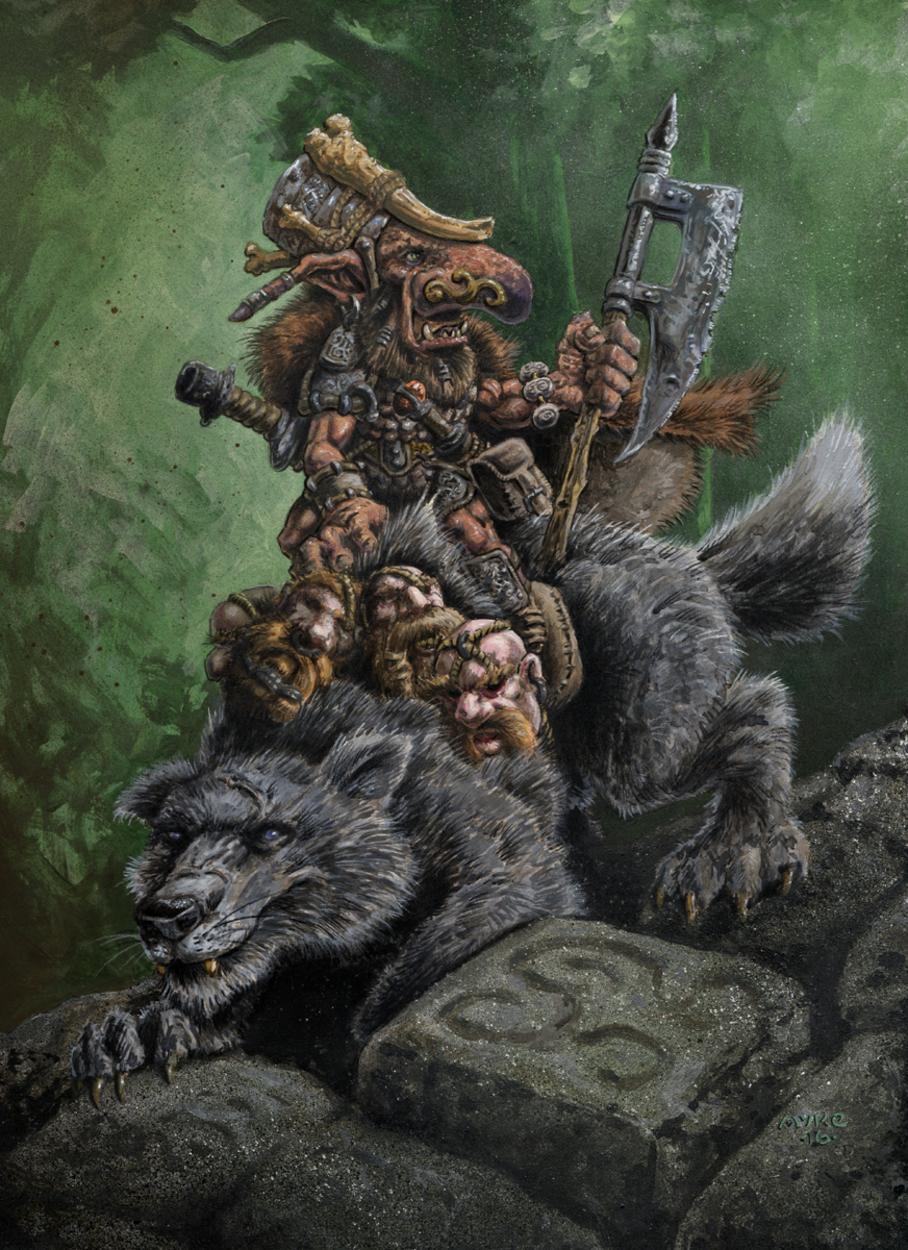 Goblin Wolfrider Artwork by Michael Rechlin