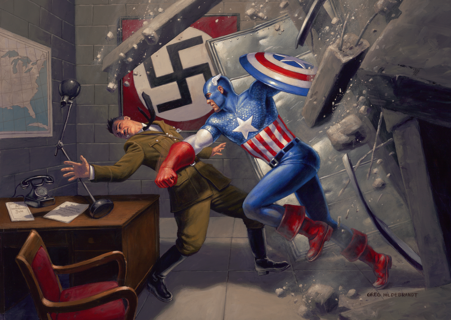 Captain America vs. Hitler Artwork by Greg Hildebrandt