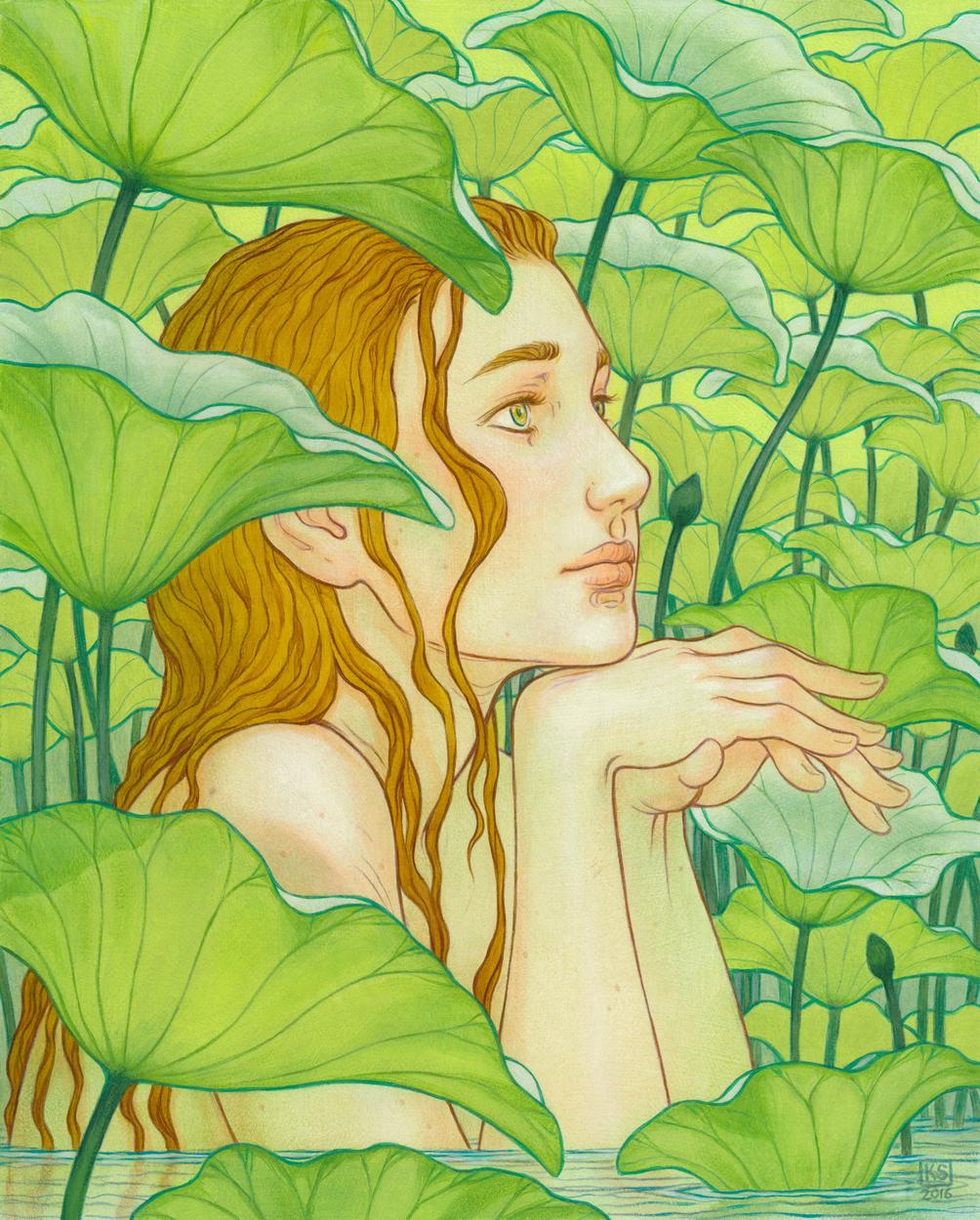 Amidst the Lotus Leaves Artwork by Kaysha Siemens