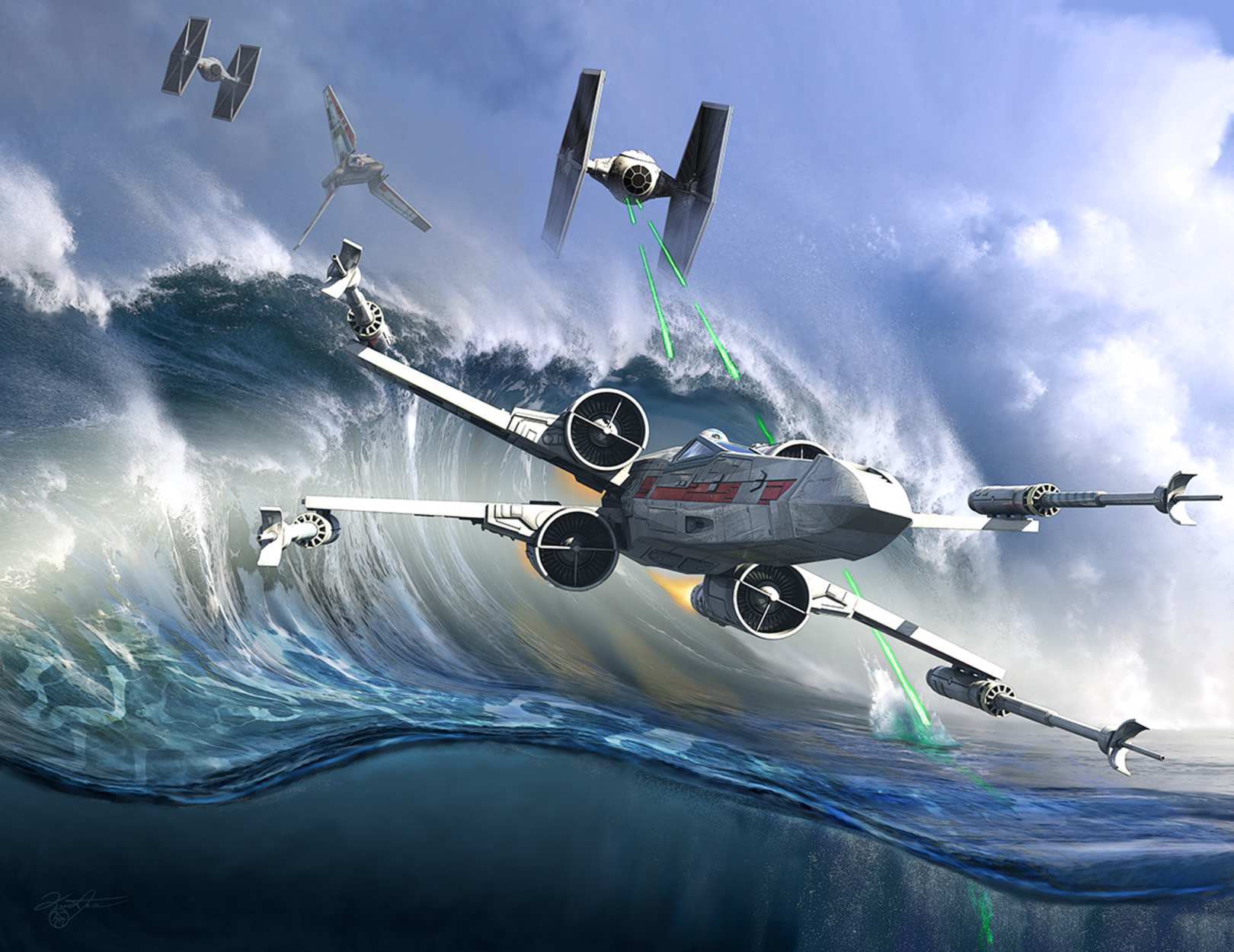 Battle Over Kamino _ The Tie Dal Wave Artwork by Kurt Miller
