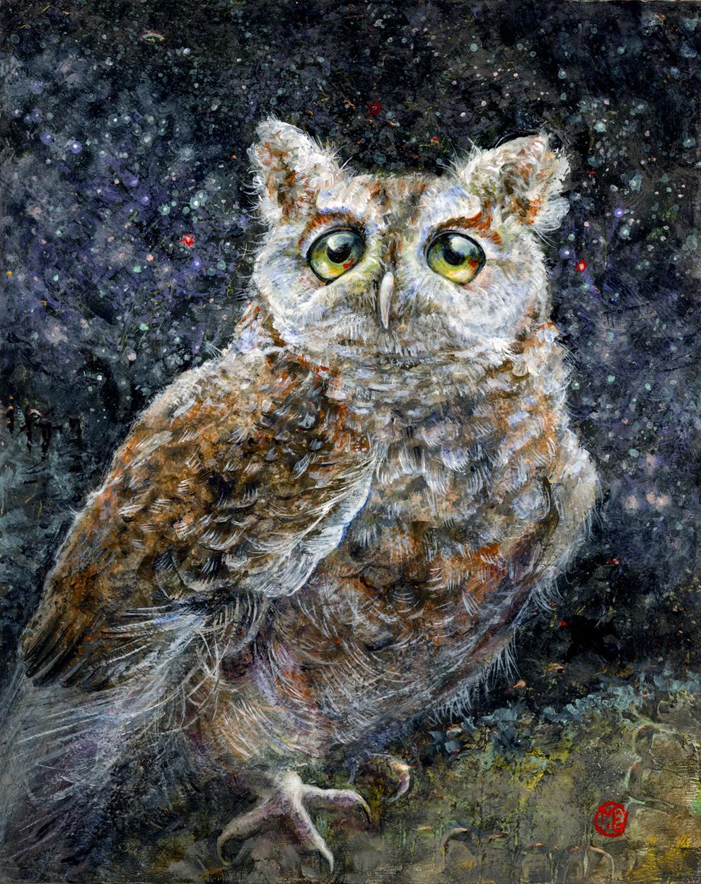 Screech Owl Ponders the Milky Way Artwork by Melissa Gay