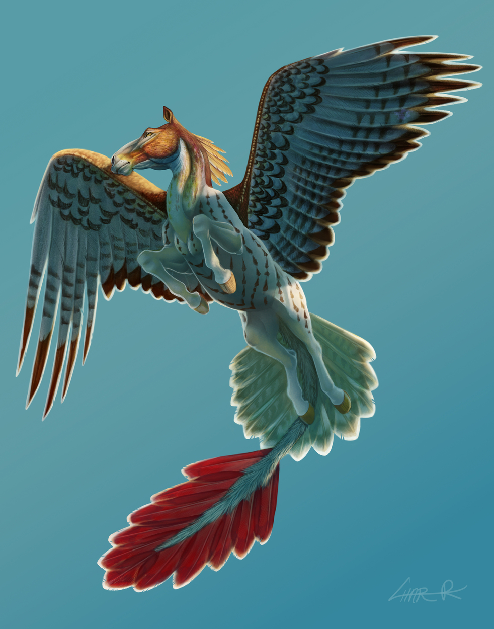 Red Tailed Pegasus Artwork by Char Reed