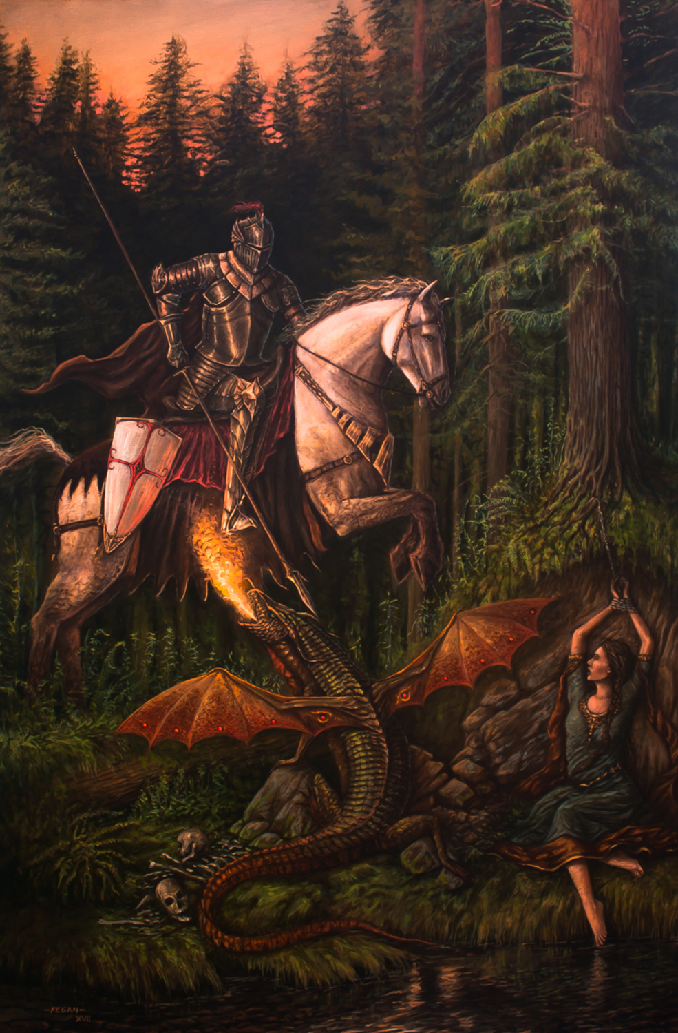 Saint George and the Dragon Artwork by Mario  Fegan