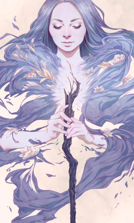 Ace of Wands Artwork by Djamila Knopf