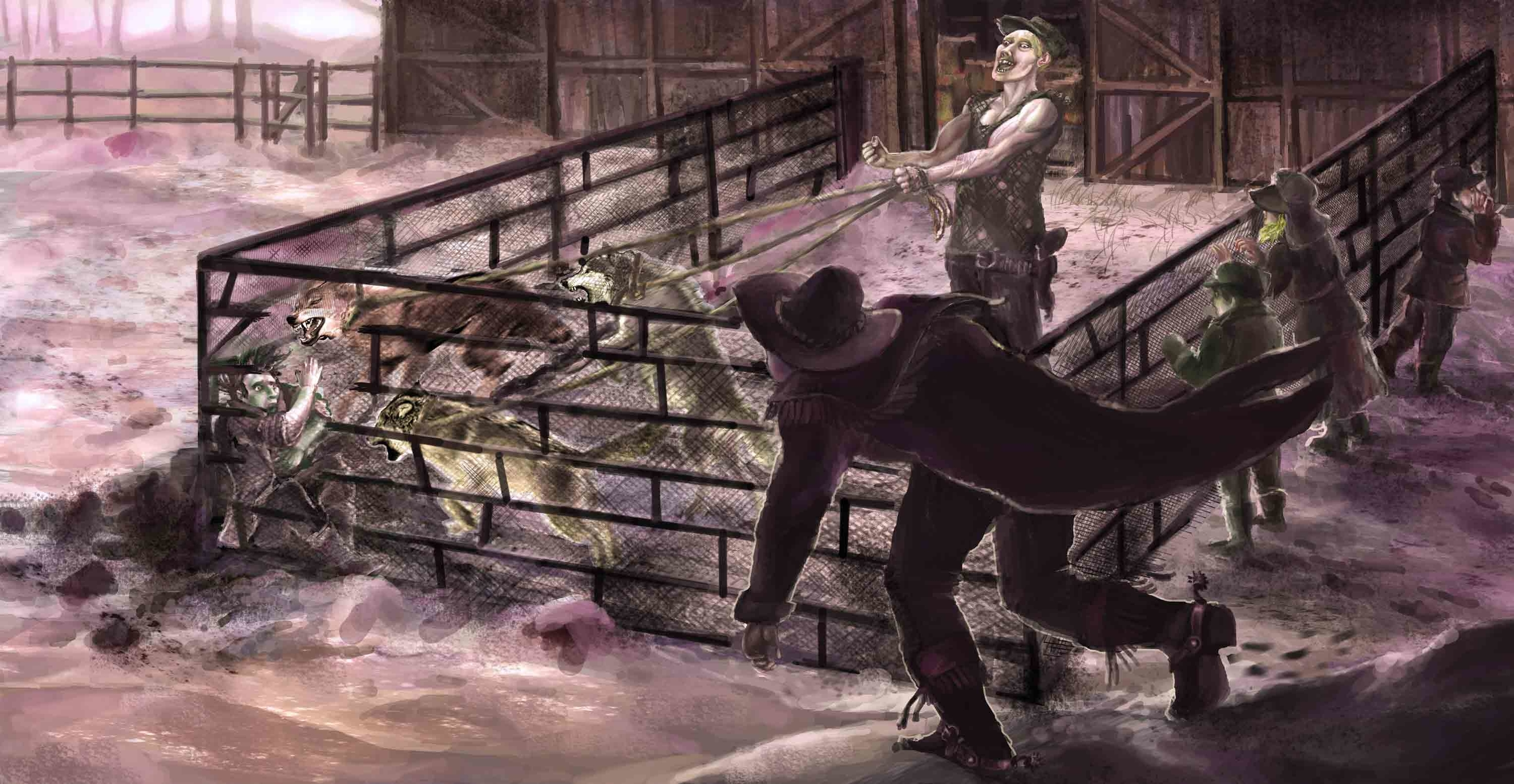 Charles assaulted by three rabid dog-wolves Artwork by Julien SEROR