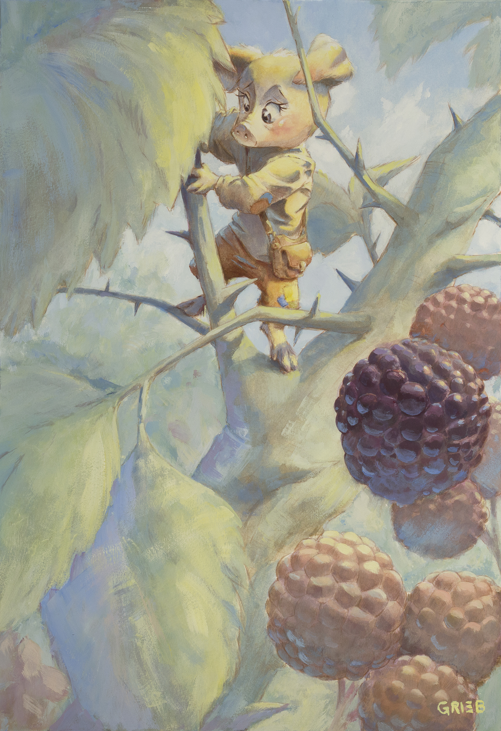Picking Berries Artwork by Chuck Grieb