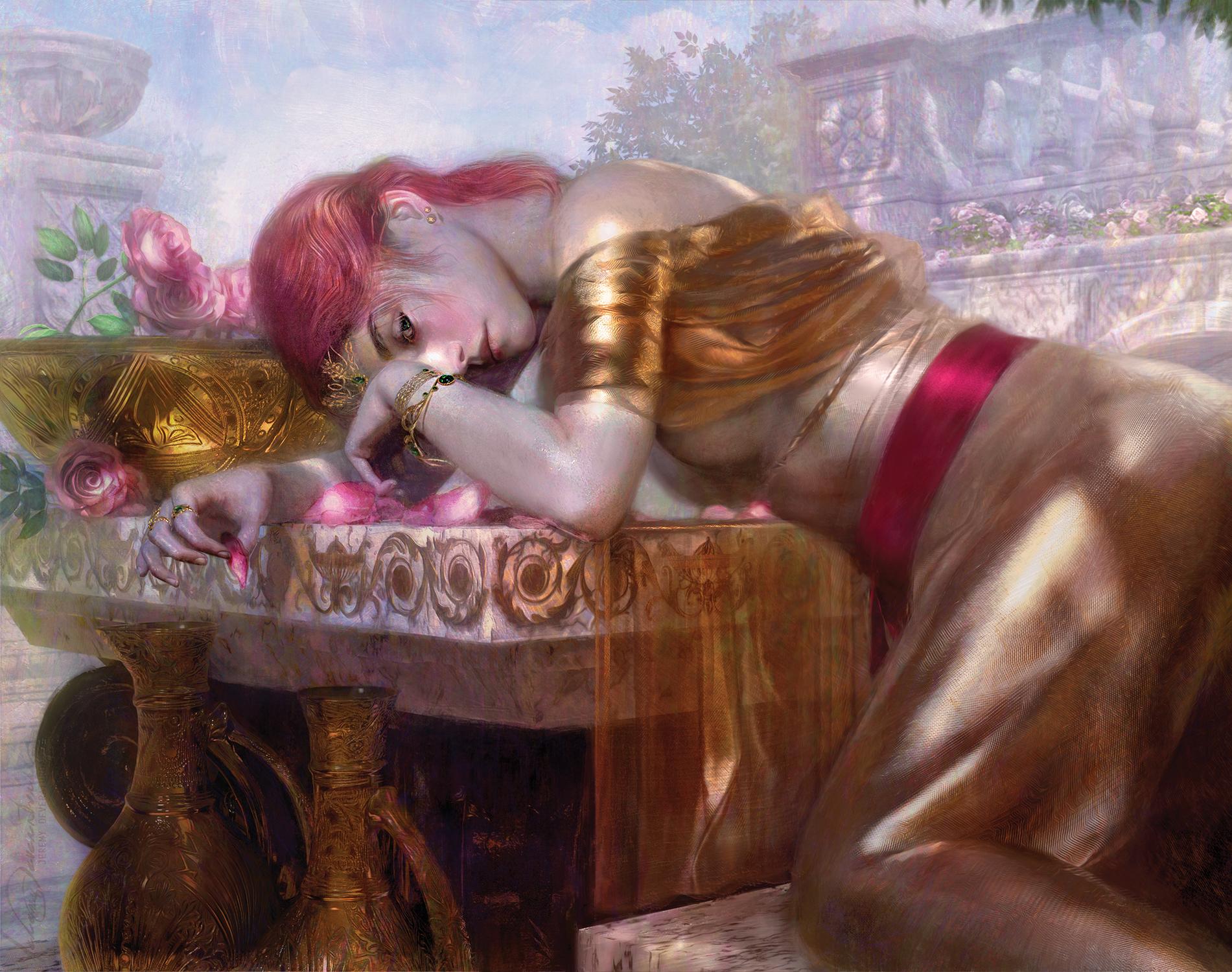 Lillian in Gold Artwork by Jeremy Deveraturda