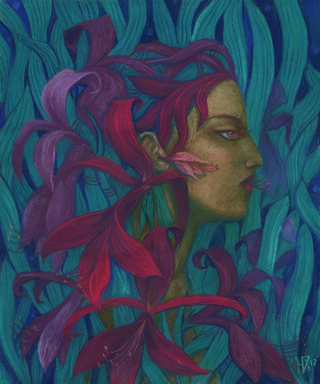 Amaryllis Artwork by Julia Khoroshikh