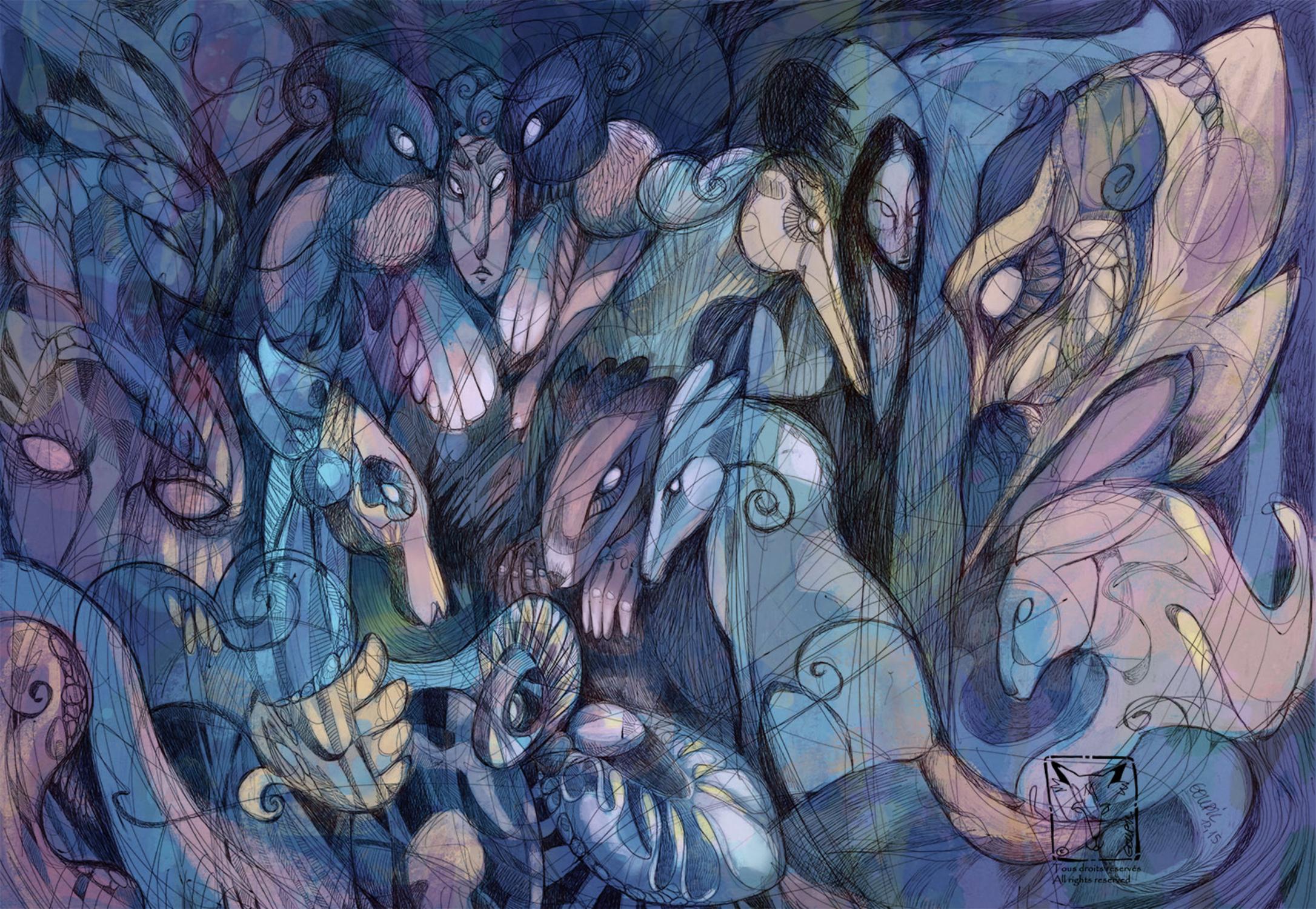A Gathering of Beasts Artwork by Sunila Sen Gupta
