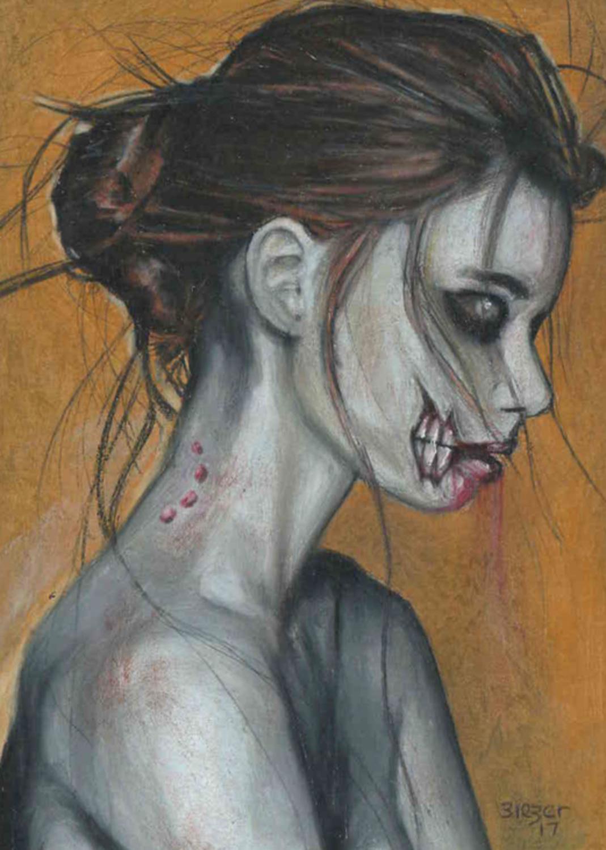 Zombie girl bite Artwork by Bob Bieber