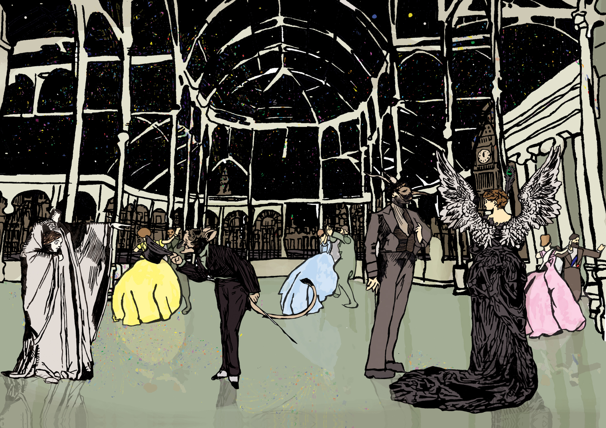 New Year's Eve in London, 1884 Artwork by Natalie Knowles
