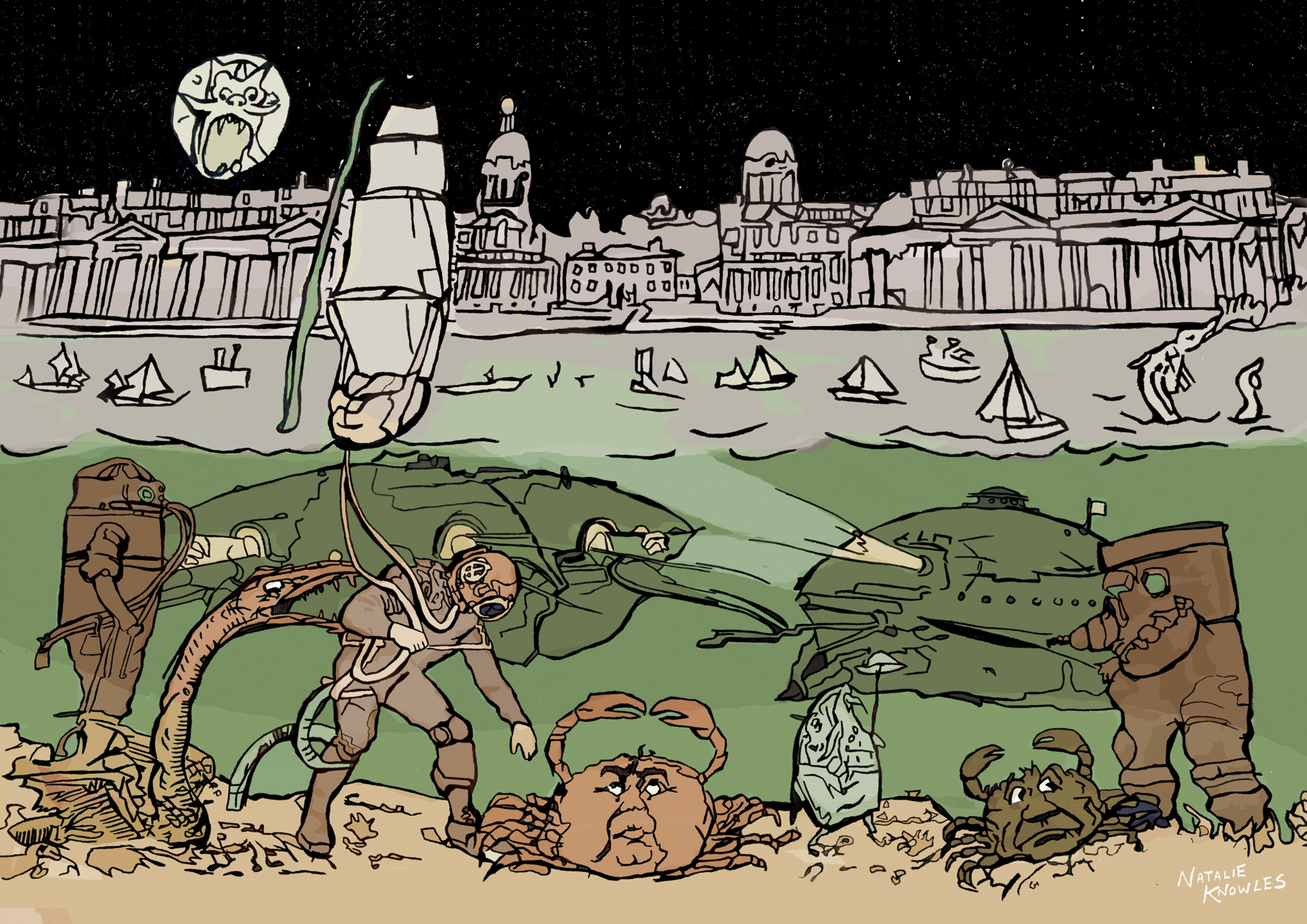 Subsalians Go Down To Sea At Greenwich Artwork by Natalie Knowles