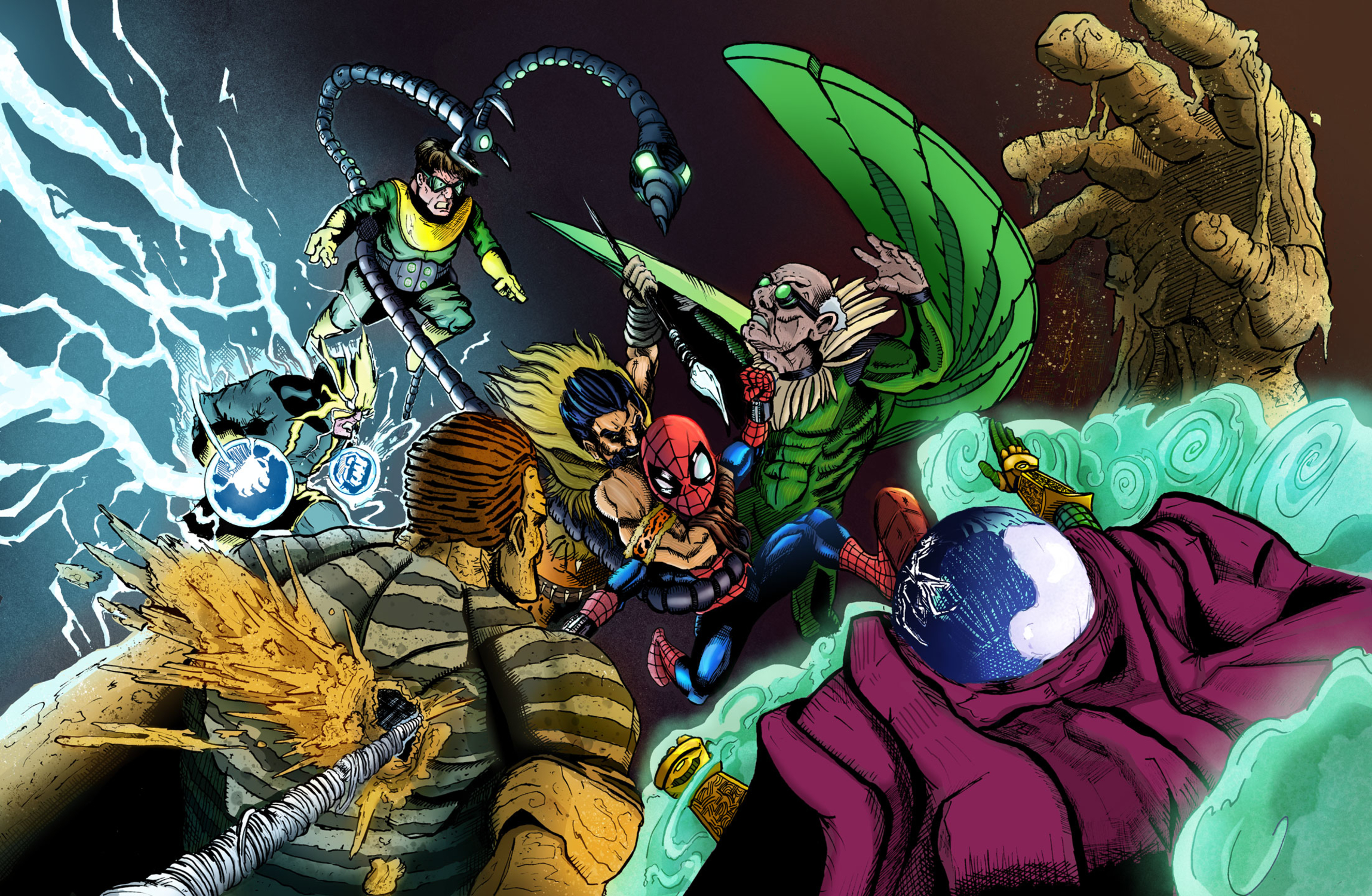 Spider-man and The Sinister Six  Artwork by Drew Norman
