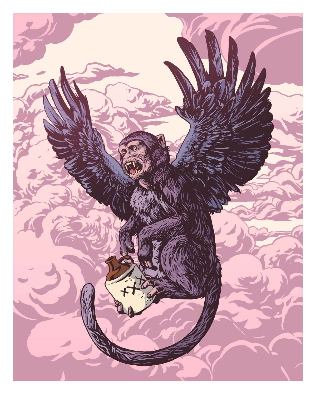 Flying Drunkey Artwork by Justin DeVine