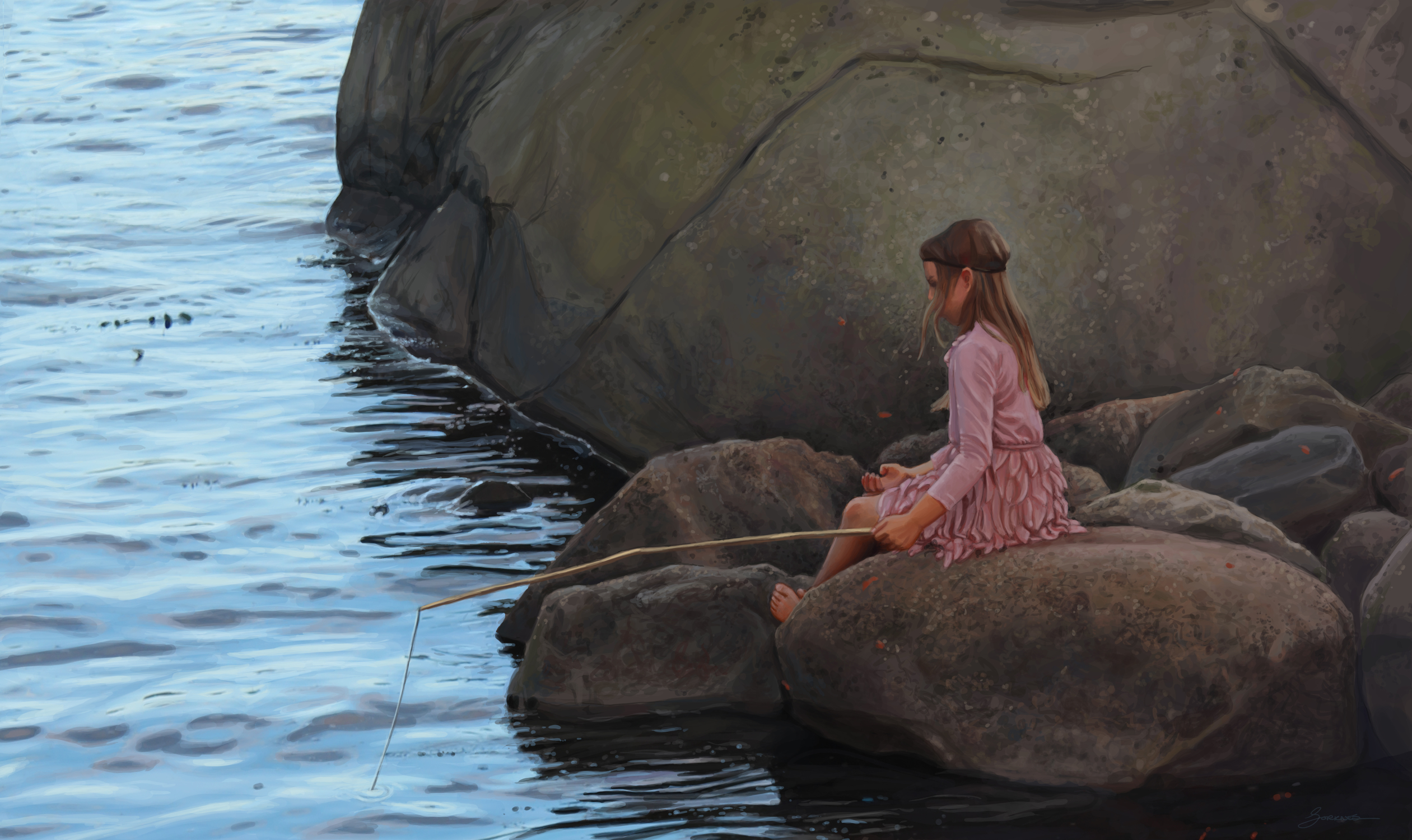 Girl By Water Artwork by Kristin Sorknes Hundstad