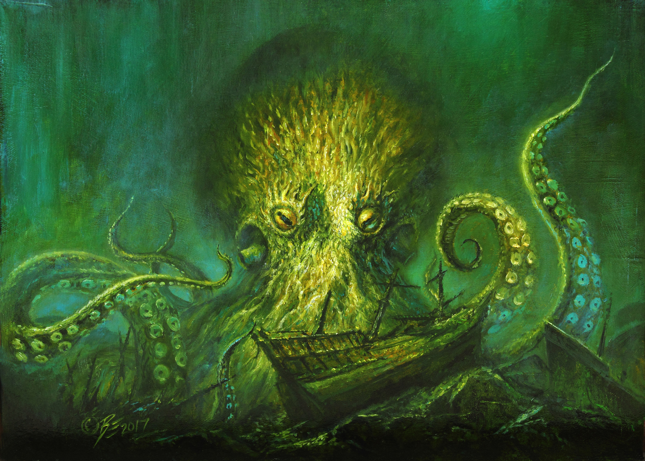KRAKEN'S LAIR Artwork by Bob Eggleton