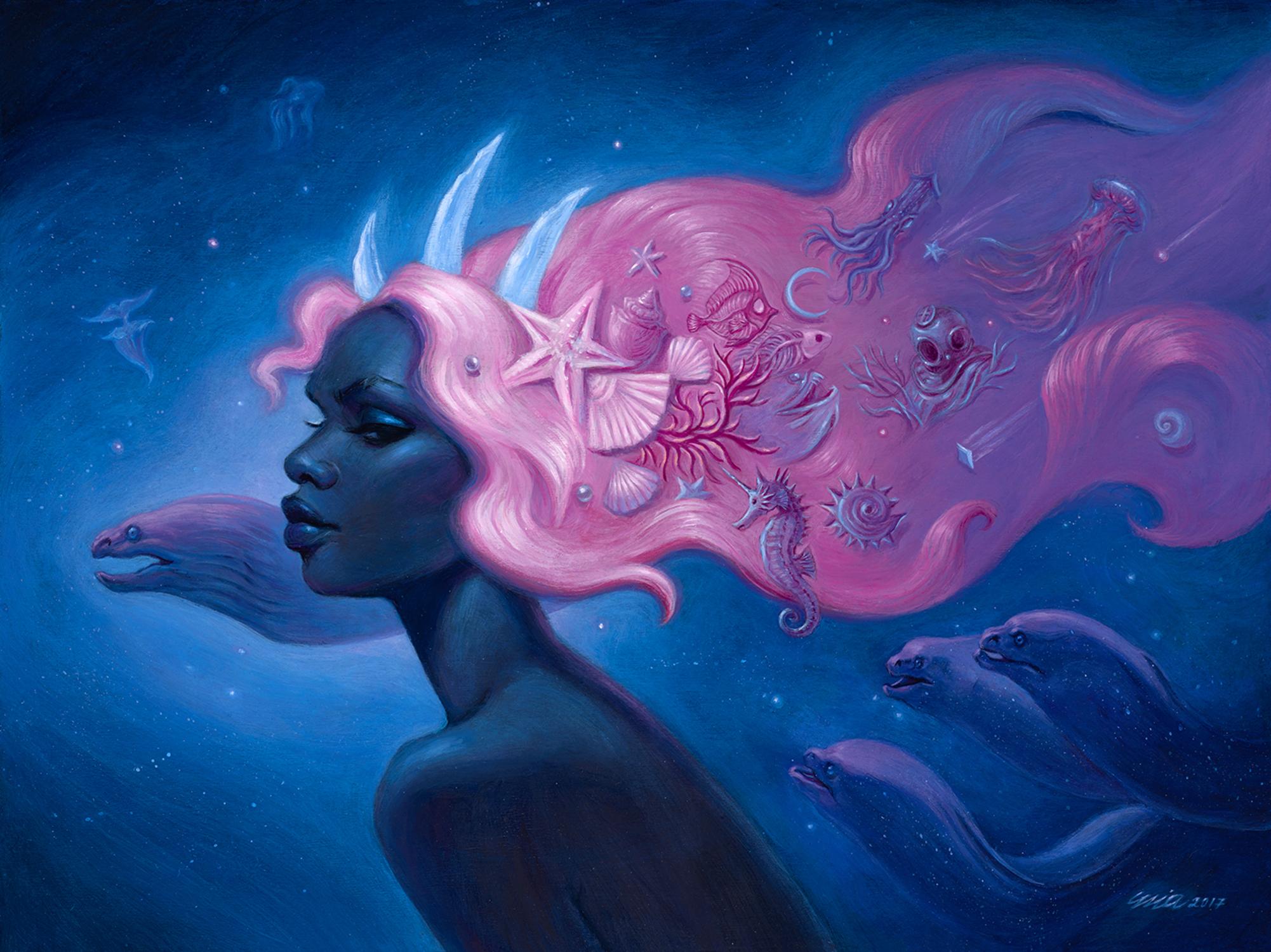 Cosmic Mermaid Artwork by Mia Araujo
