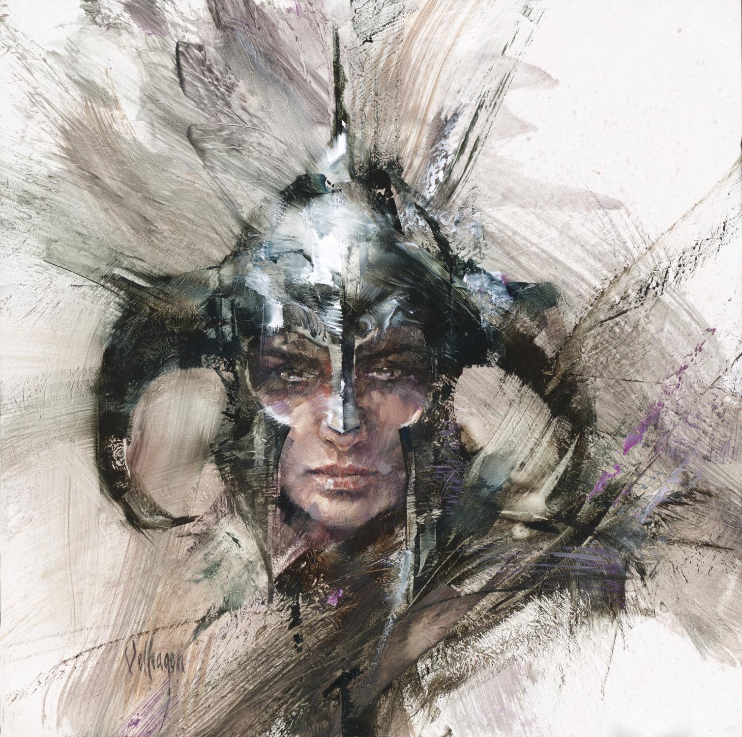 Woman wearing Helm Artwork by Eric Velhagen