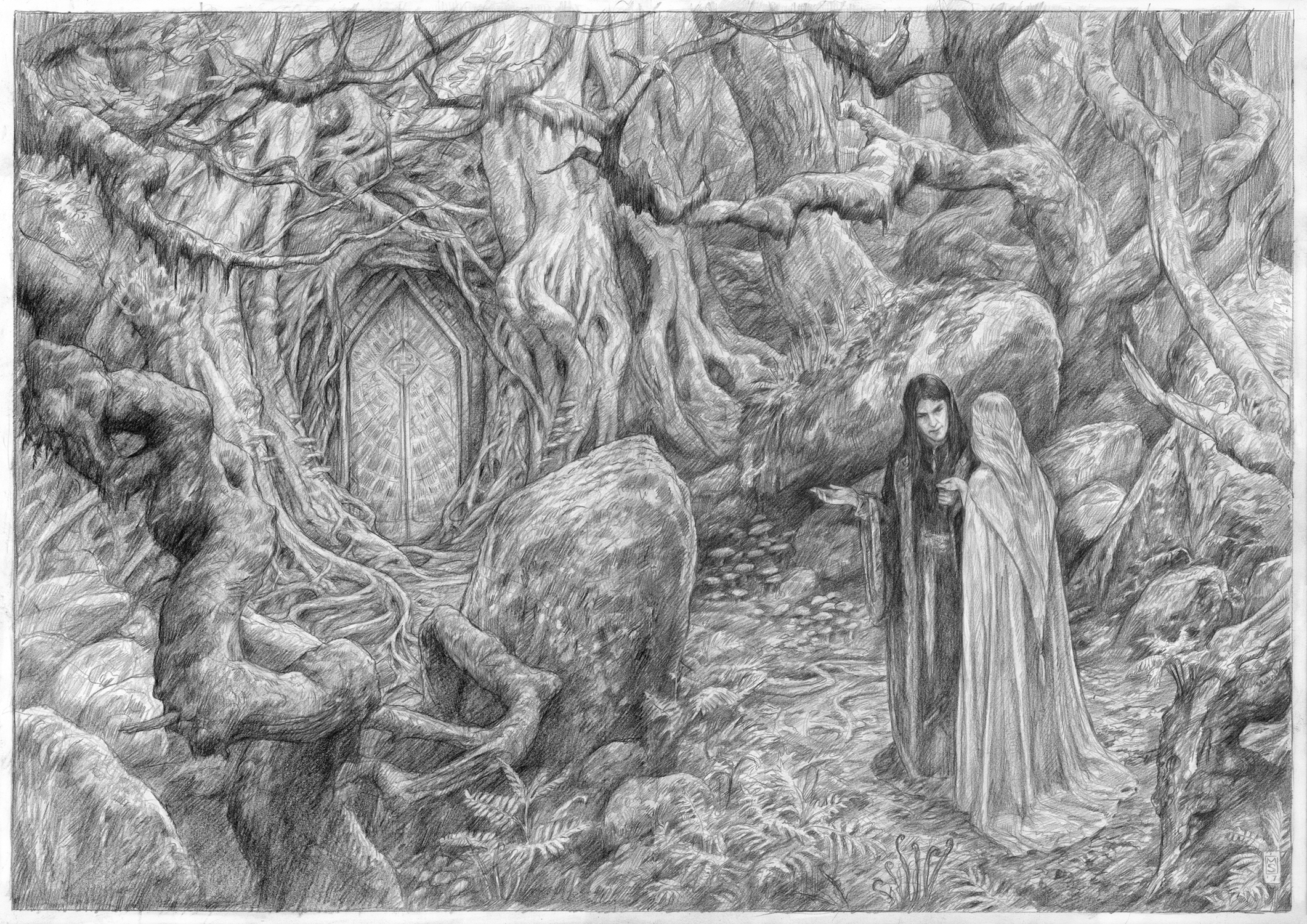 The Meeting of Aredhel and Eol Artwork by Matthew Stewart