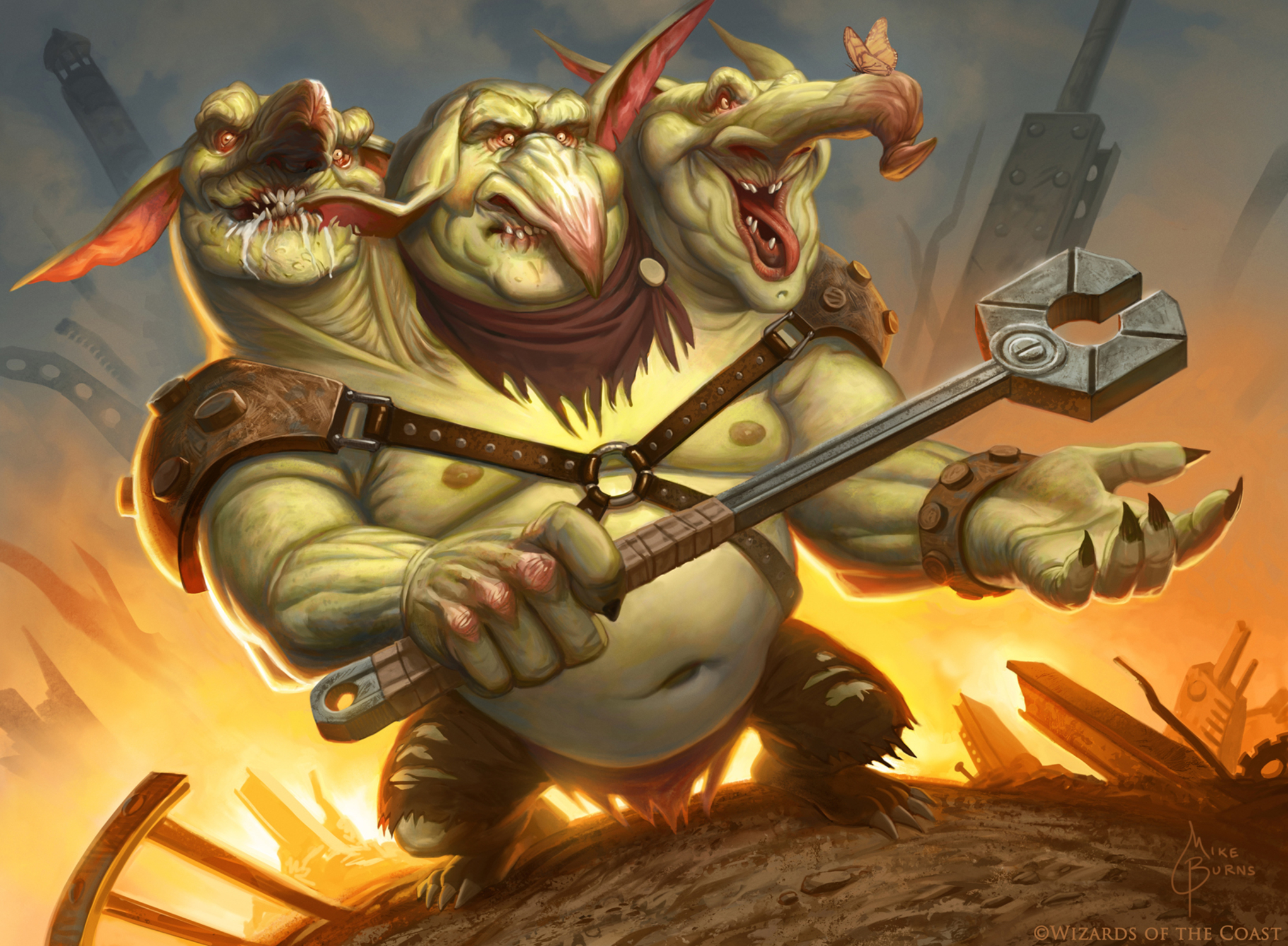 Three-Headed Goblin Artwork by Mike Burns